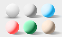 Color Realistic Spheres Isolated On White. Vector Illustration.