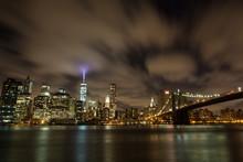 Long Exposure Night View Of The Manhattan Skyline.