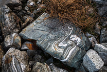 Distinct Patterns Are Formed In The Rocks In Mountains.