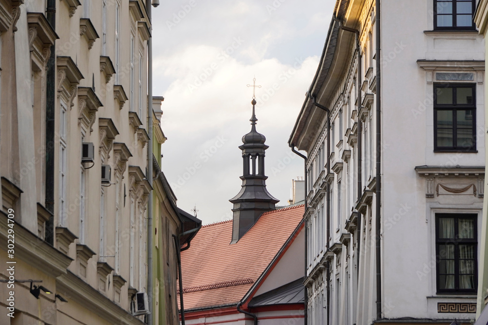 Beautiful view of scenic narrow street of the European old town, roofs and Windows of houses, blue sky with white clouds in summer on the background. Street in Poland