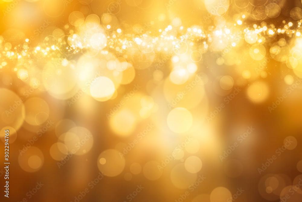 Fototapety, obrazy: Beautiful festive Bokeh in golden Colours
