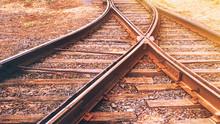 Crossing Of Railway Tracks, Toned.