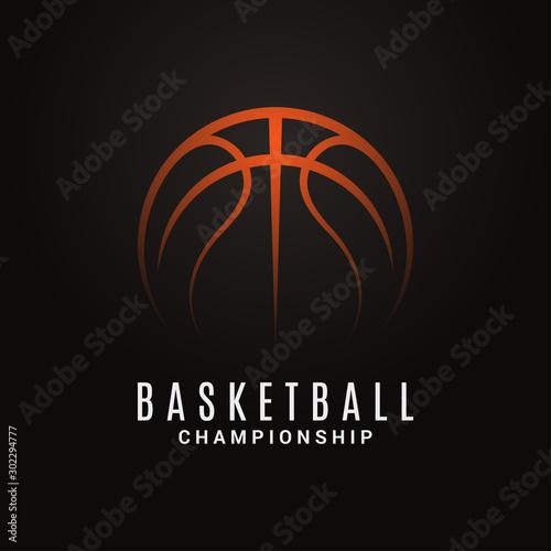 Fotografija  Basketball championship logo. Ball on black object