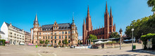 View Over Market Square With New City Hall And Church, Wiesbaden, Germany