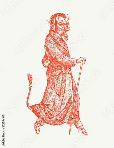 Cuadros en Lienzo Damn or demon with horns and pork nose in vintage style