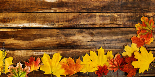 Photographie  Autumn maple leaves on top view wooden boards