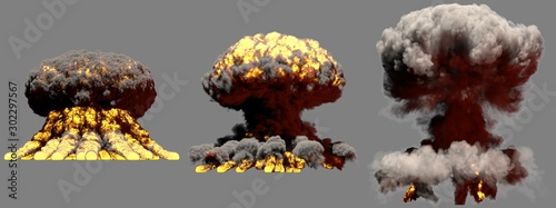 3D illustration of explosion - 3 large different phases fire mushroom cloud expl Canvas Print