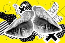 Kissing Halftone Woman Lips On...