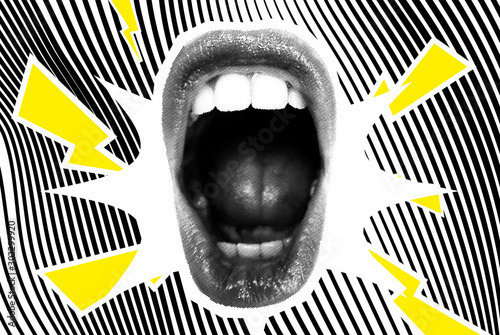 Fotografie, Obraz Open Screaming Mouth On A Striped Background