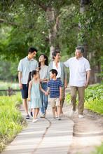 Happy Chinese Family Walking I...