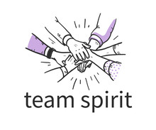 Team Spirit Concept With Human Hands Holding Together Isolatex On White Background. Team Work, Partnership, Team Building. Hand Drawn Sketch Style. Vector Illustration.