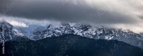 Poster Gris Panorama HDR of the Tatra Mountains and Zakopane in Poland, National Park, pictures taken in cloudy day.