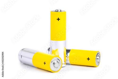 AA alkaline batteries on white background. Wallpaper Mural