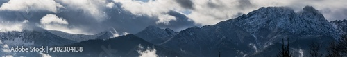 Panorama HDR of the Tatra Mountains and Zakopane in Poland, National Park,  pictures taken in cloudy day Wallpaper Mural