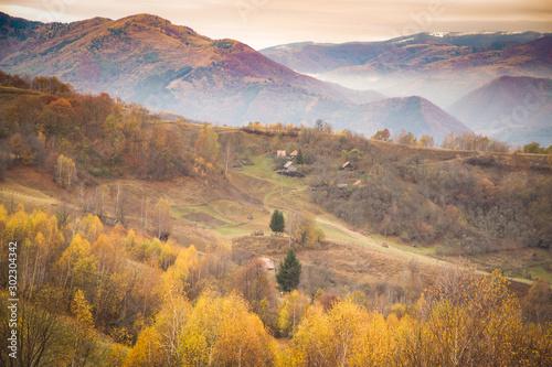 Foto op Aluminium Diepbruine Autumn golden colors mountain landscape