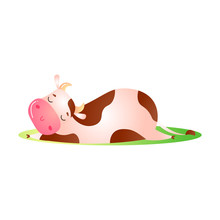 Cow Animal Sleeping And Taking...