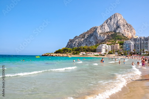 People on beach in Calpe (Costa Blanca), Spain