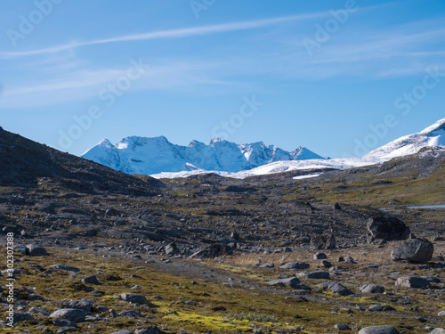 Photo View on highest snow covered mountain peaks in Norway and Scandinavia, Jotunheimen National Park