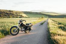 Modern Motorbike Parked On Asp...