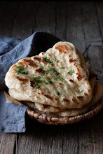 Plate With Delicious Naan Brea...