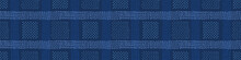 Dark Blue Denim Linen Vector Border Pattern. Heathered Marl Quilt Patchwork Effect. Woven Indigo Space Dyed Texture Banner Trim. Fabric Textile Background Bordure Edging. Cotton Washi Tape EPS 10