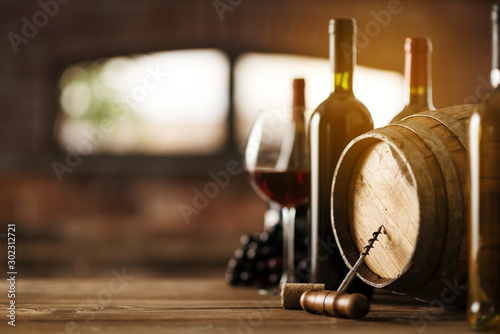 Photo Luxury wines and barrel in the cellar