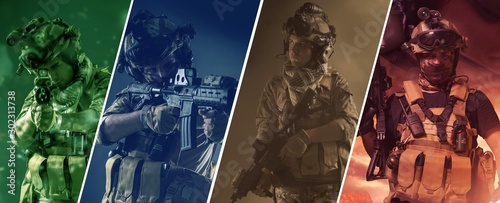 Obraz special forces soldier police, military team members. - fototapety do salonu