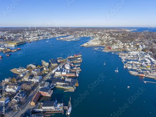 Fototapeta Aerial view of Rocky Neck and Gloucester Harbor in City of Gloucester, Cape Ann, Massachusetts, USA