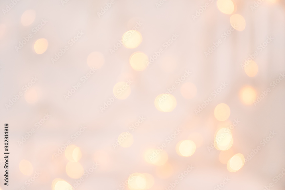 Fototapety, obrazy: Christmas light with bokeh.Holidays,Christmas and New Year concept. Scandinavian Style.New Year and Christmas poster with copy space