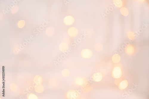 Obraz Christmas light with bokeh.Holidays,Christmas and New Year concept. Scandinavian Style.New Year and Christmas poster with copy space - fototapety do salonu