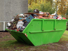 Big Green Color Metal Skip Con...