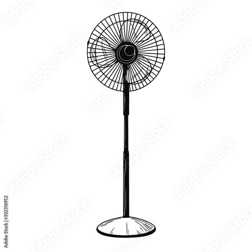 Fototapeta Realistic sketch. Electric fan isolated on white background. Vector obraz