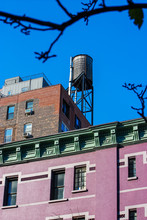 A Tank On A New York Roof With A Pink Building In Front Of It And A Tree Branch During A Clear Day, New York, NY, United States