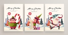 New Year 2020 And Christmas Greeting Card Collection. Cute Holiday Themed Characters And Situations