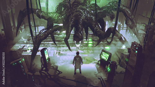 the scientist creating a monster spider in a laboratory, digital art style, illustration painting