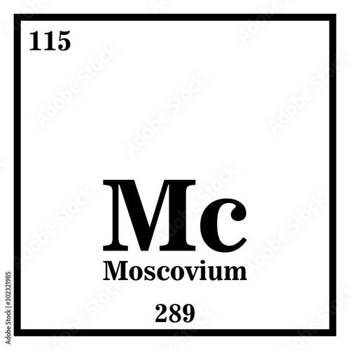 Fotografia  Moscovium Periodic Table of the Elements Vector illustration eps 10