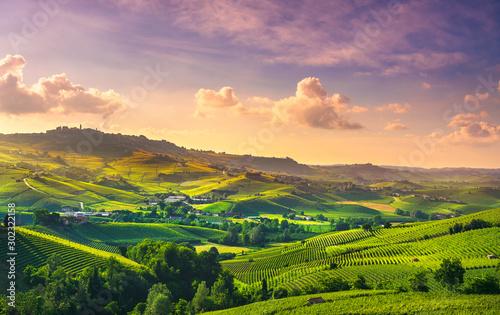 Montage in der Fensternische Lavendel Langhe vineyards view, Barolo and La Morra, Piedmont, Italy Europe.