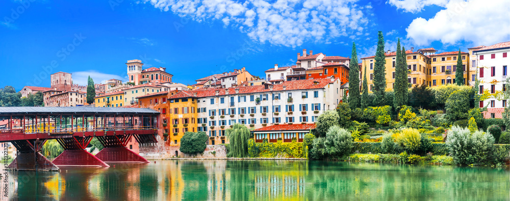 Fototapety, obrazy: Beautiful medieval towns of Italy -picturesque  Bassano del Grappa .Scenic view with famous bridge. Vicenza province,  region of Veneto