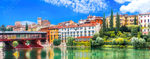 Foto auf Leinwand Altes Gebaude Beautiful medieval towns of Italy -picturesque Bassano del Grappa .Scenic view with famous bridge. Vicenza province, region of Veneto