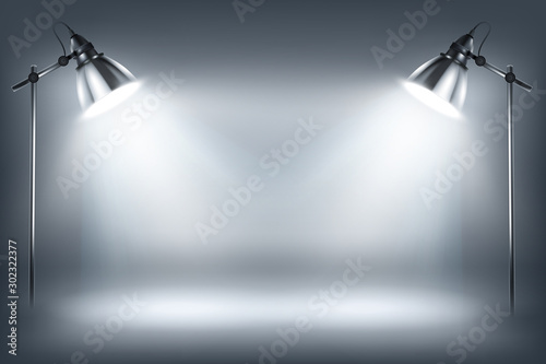 Obraz Illuminated wall by standing lamps. Empty showroom. Place for the exposition. White background. Vector illustration. - fototapety do salonu