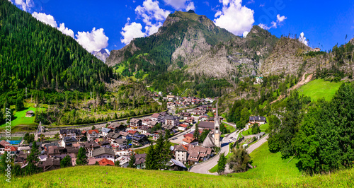 Breathtaking Alpine scenery, Dolomite mountains. beautiful Cortina d'Ampezzo village, famous tourist destination in northern Italy