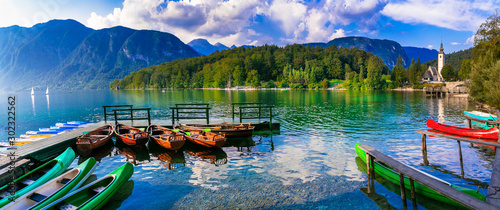 Idyllic nature scenery - beautiful magic lake Bohinj in Slovenia, Triglav National Park