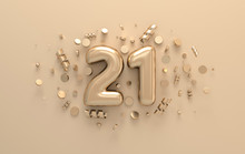 Golden 3d Number 21 With Festive Confetti And Spiral Ribbons. Poster Template For Celebrating 21 Anniversary Event Party. 3d Render