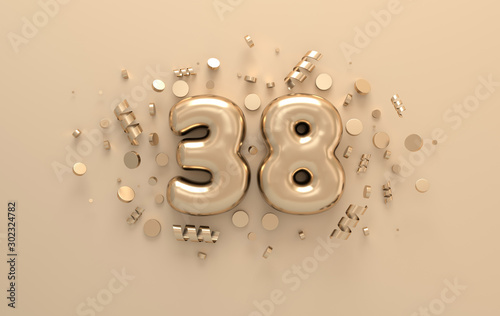 Tela Golden 3d number 38 with festive confetti and spiral ribbons