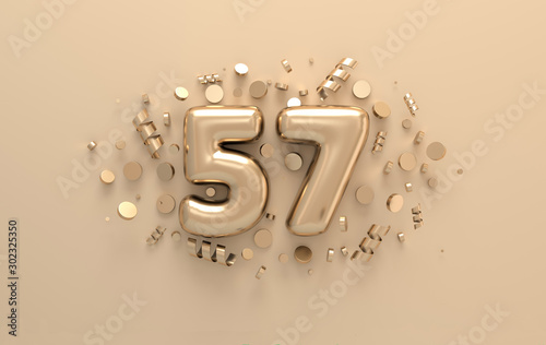 Fotografie, Obraz Golden 3d number 57 with festive confetti and spiral ribbons