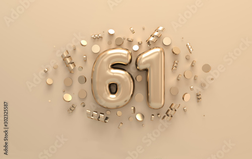 Papel de parede  Golden 3d number 61 with festive confetti and spiral ribbons