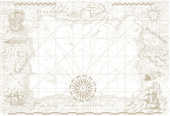 vektorska slika stare morske karte u stilu srednjovjekovnih gravura