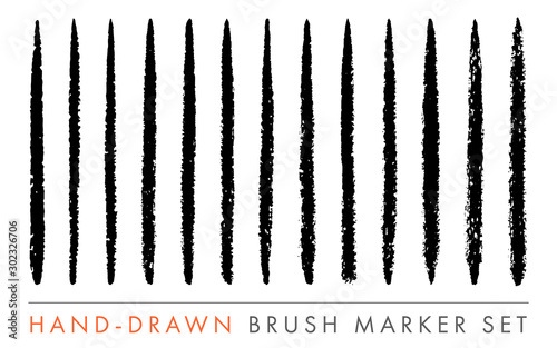 Hand-Drawn Marker Brush Vector Set Tableau sur Toile