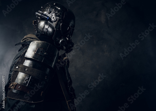 Fotografie, Obraz Amazing well made costume for Halloween of dark apocalypse warrior
