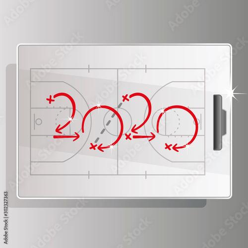 Fotografía  2020 Basketball strategy white court board background